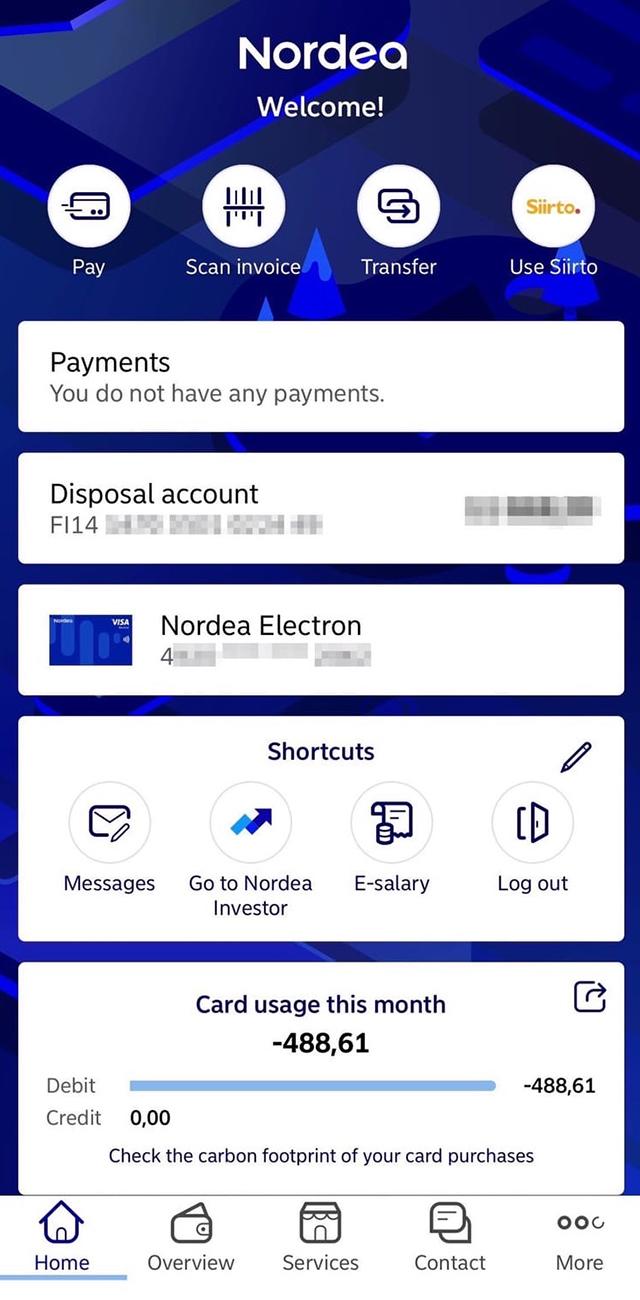 Таквыглядит мобильное приложение банкаNordea