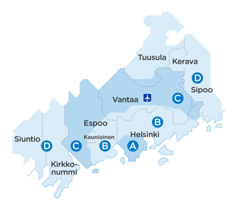 Тарифные зоны впределах столичного региона