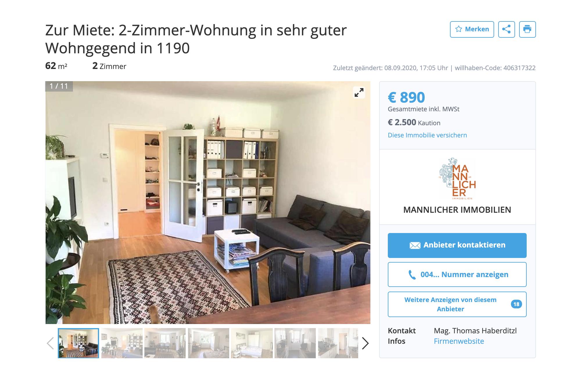 Двухкомнатная квартира с&nbsp;мебелью в&nbsp;хорошем районе — 890€ (80 990<span class=ruble>Р</span>) в&nbsp;месяц плюс залог 2500€ (227 500<span class=ruble>Р</span>)