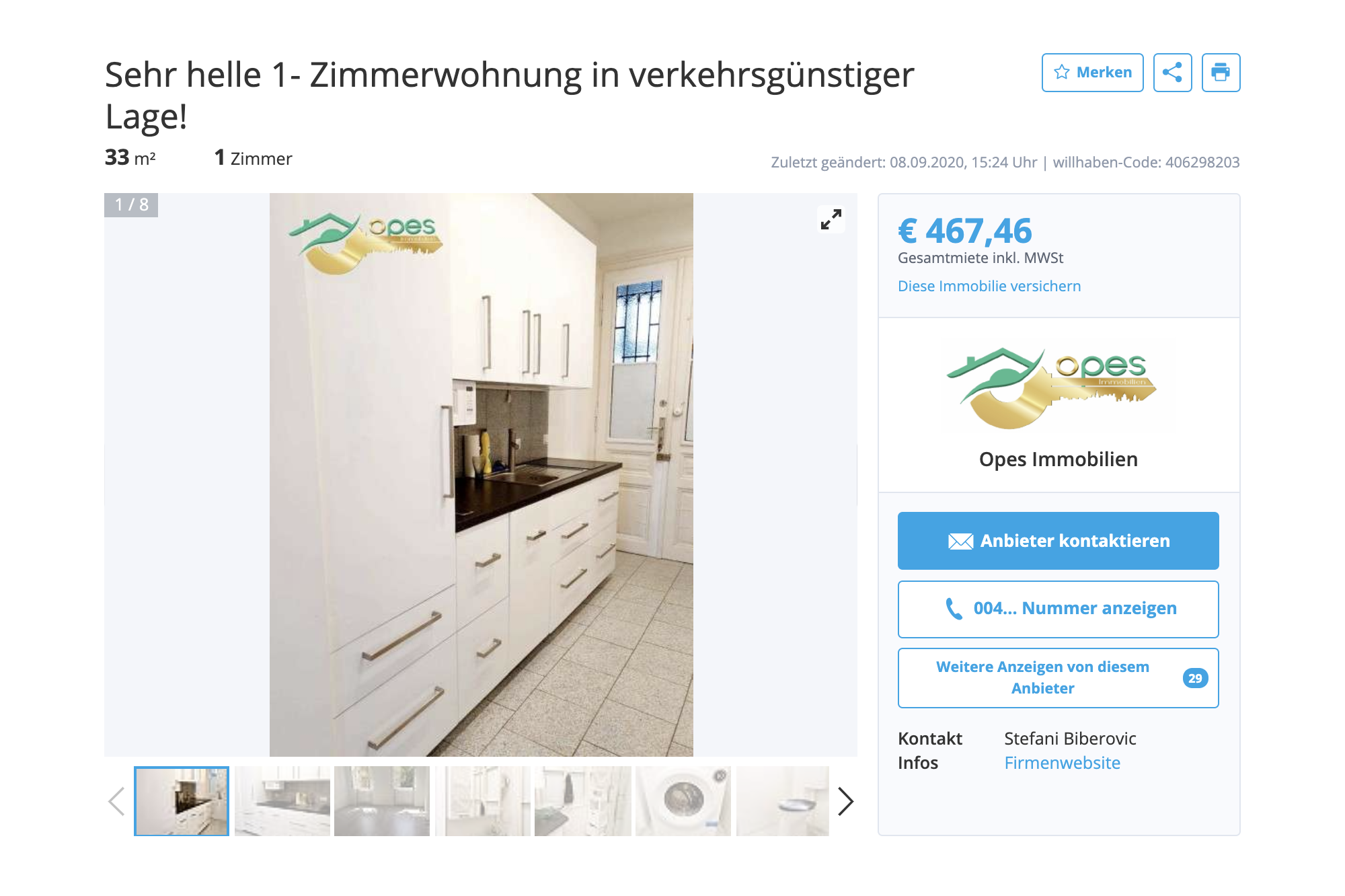 Однокомнатная квартира без&nbsp;мебели, но&nbsp;с&nbsp;кухней в 14-м районе — 476€ (43 316<span class=ruble>Р</span>). Это не&nbsp;очень близко к&nbsp;центру
