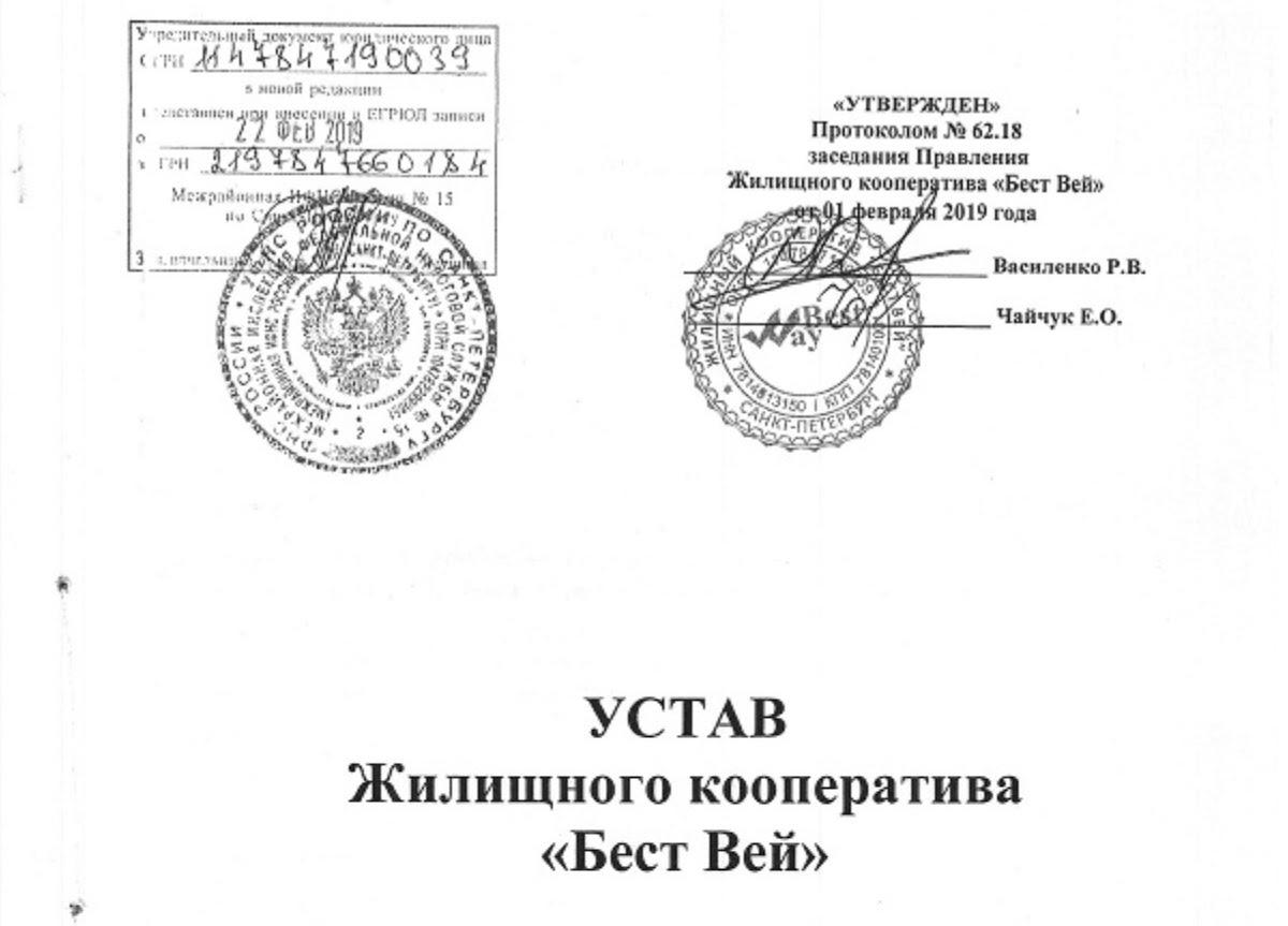 Последняя версия устава утверждена 1 февраля и зарегистрирована в налоговой 22 февраля 2019 года