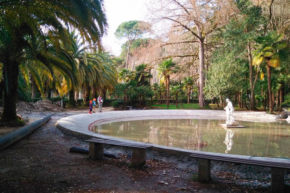 Так выглядит парк в Гагре в феврале. Зимой он совершенно пустынный — можно часами ходить и не встретить никого, кроме одиноких продавцов сувениров