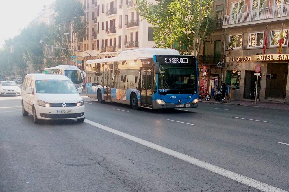 Такси и автобус в Мадриде