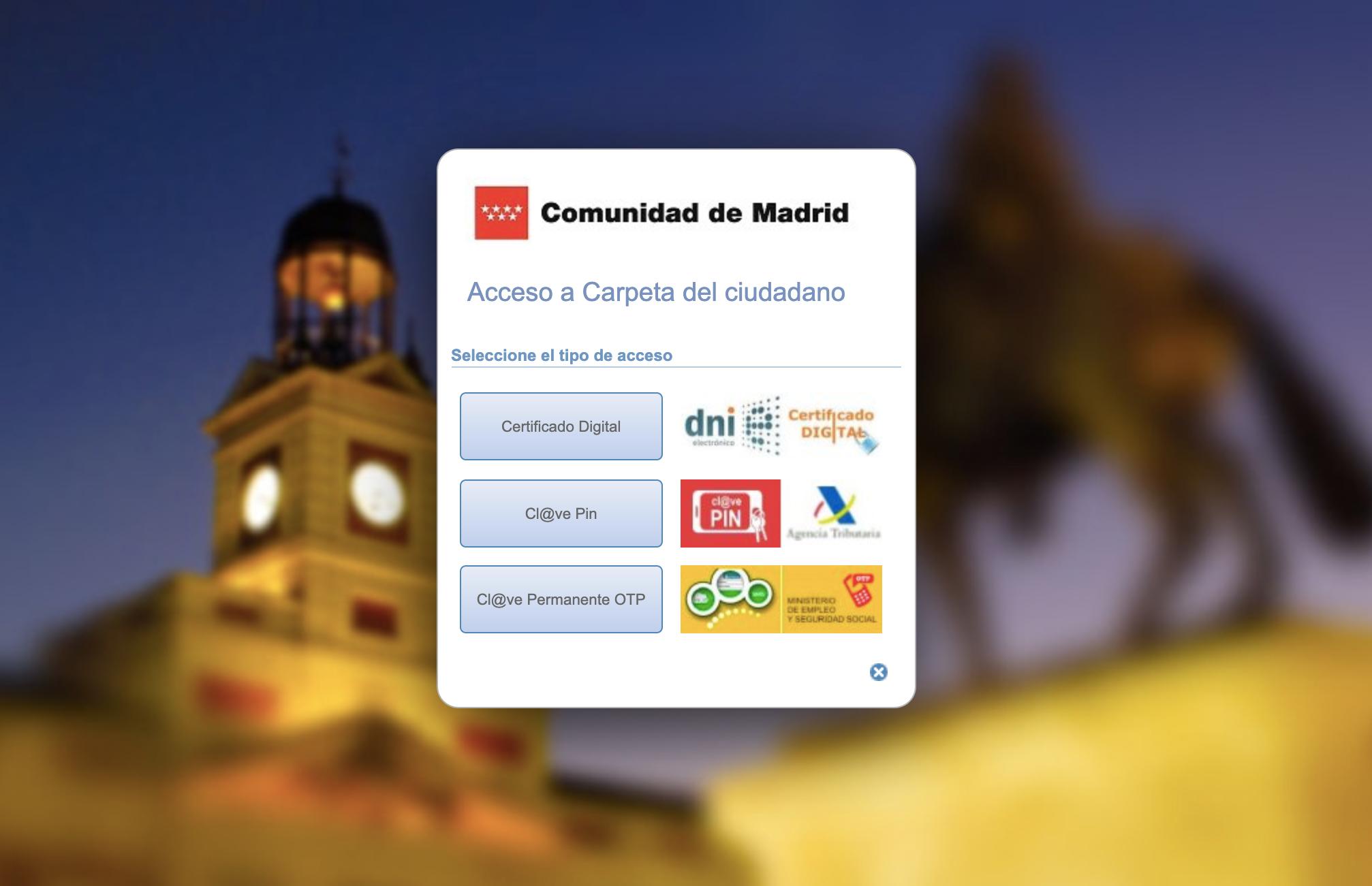 Страница входа в систему электронных оповещений Мадридского региона. Здесь можно посмотреть статус всех вопросов, с которыми ты обращался к региональным властям. Например, у меня там высвечивается дата получения молодежной карты Carné Joven