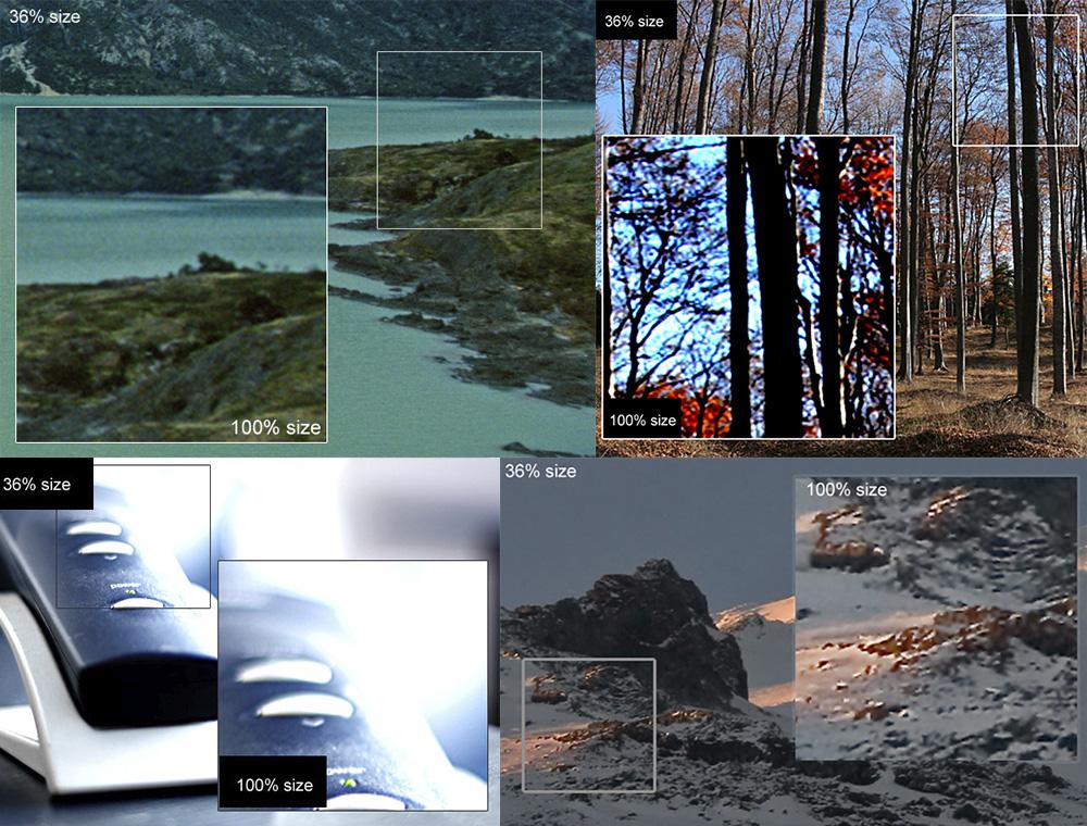 Нафотографии сморем приприближении видно, чтодальний план размыт. Нафотографии впарке нетолько появляются пиксели, ноиискажаются цвета. Наснимке стелефонной трубкой пересвет — всветлом месте картинка совсем белая инетдеталей. Нафото сгорами приприближении контуры становятся нечеткими— появляются пиксели.