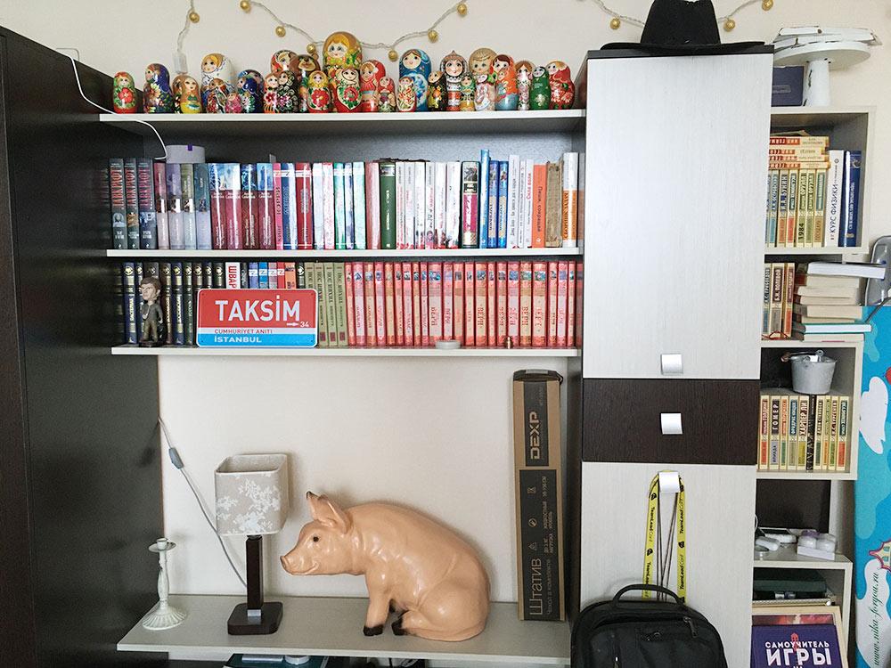 Моя библиотека, а наверху — коллекция матрешек жены