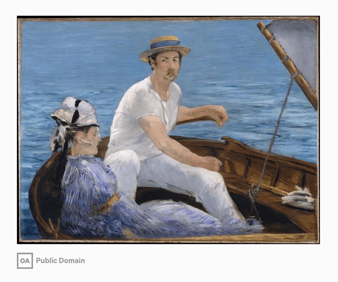 Вот, например, картина «В лодке» Эдуарда Мане. Она написана в 1874 году и хранится в нью-йоркском музее Метрополитен. Эта картина признана общественным достоянием. Ее можно свободно печатать на футболках, кружках и других местах