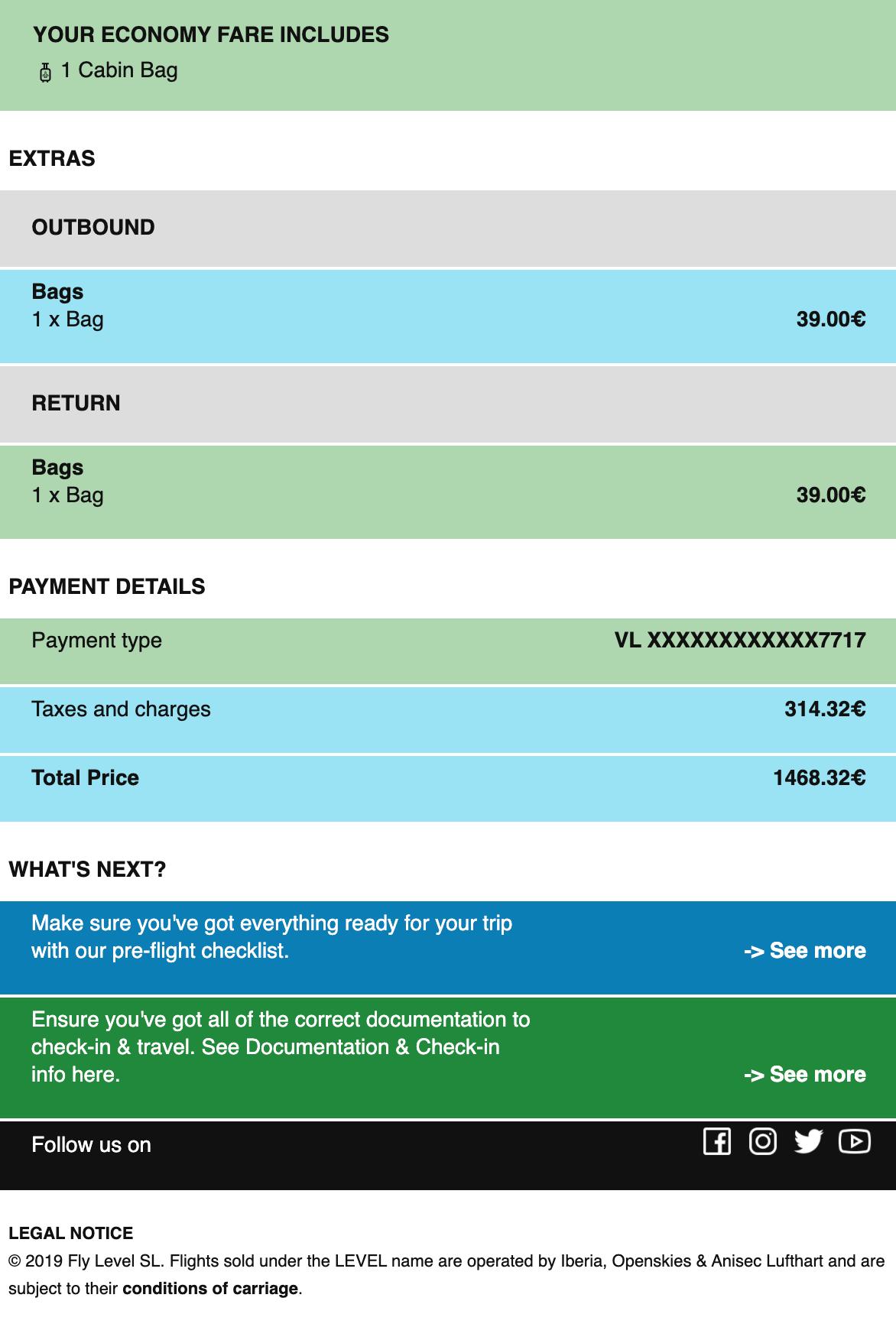 Билеты Париж— Мартиника— Париж япокупал наофициальном сайте авиакомпании «Левел»: там была самая низкая цена