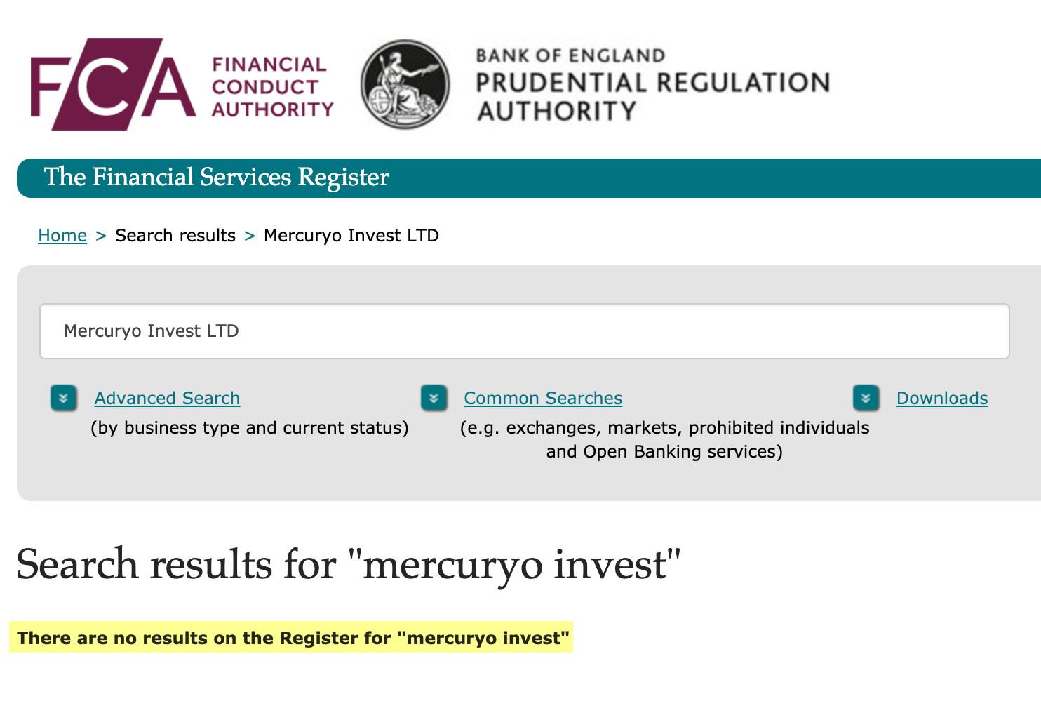 Я не нашел MercuryoInvest Ltd в списке компаний, которым разрешено оказывать финансовые услуги
