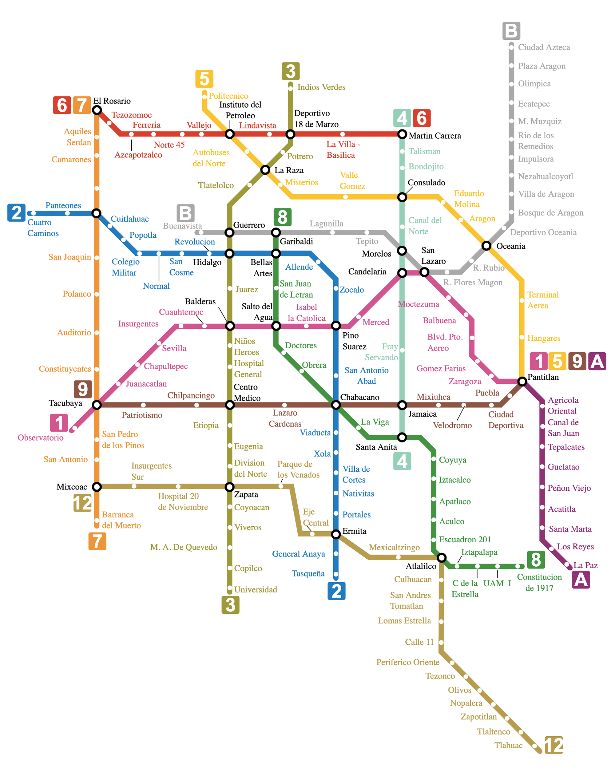 Карта метро в Мехико. Хотябы проезд на нем стоит дешево — всего 5 песо