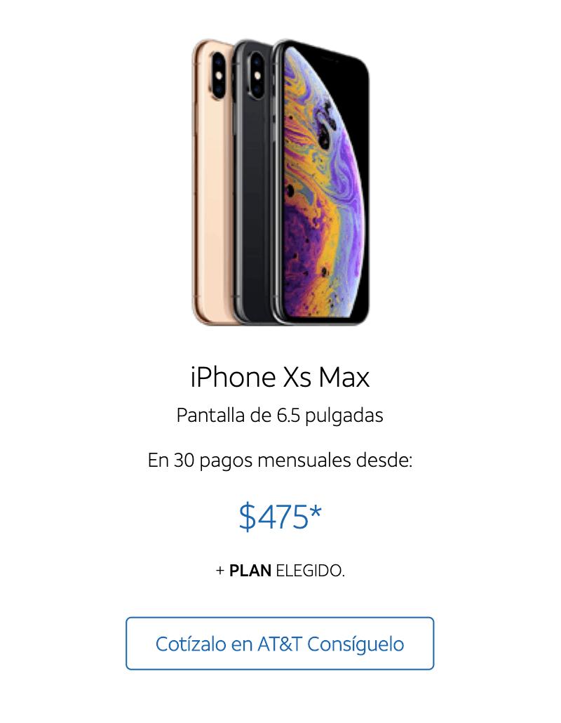 Местный филиал американского телекоммуникационного гиганта AT&T предлагает Айфон Xs Max в кредит на 30 месяцев, регулярный платеж — 475песо + цена любого тарифа на выбор