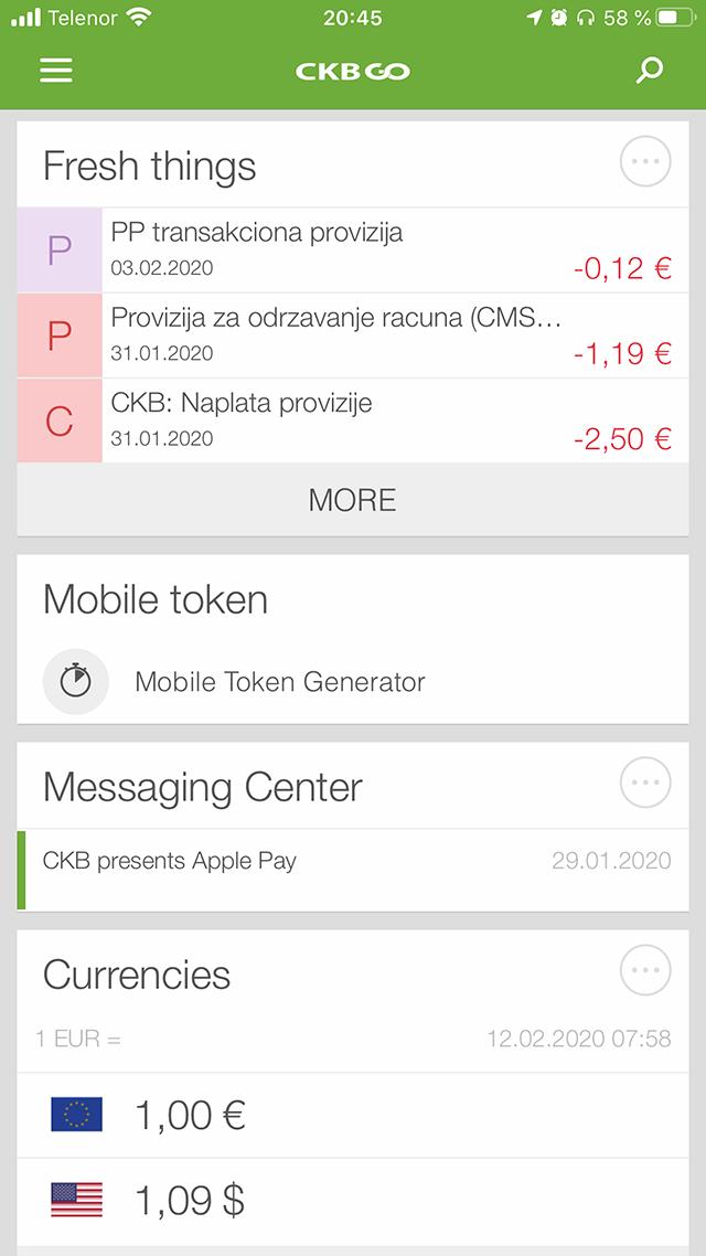 Интерфейс мобильного приложения банка CKB дляiOS