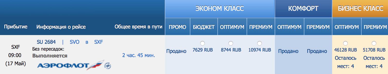 Тарифы на перелет из Москвы в Берлин «Аэрофлотом». Бюджет в экономклассе — это тоже промо