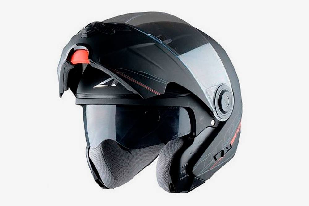 Шлем-модуляр, или трансформер. Внем можно есть ипить, что удобно длядальних поездок. Ноподъемный механизм делает шлем менее надежным припадении иударе