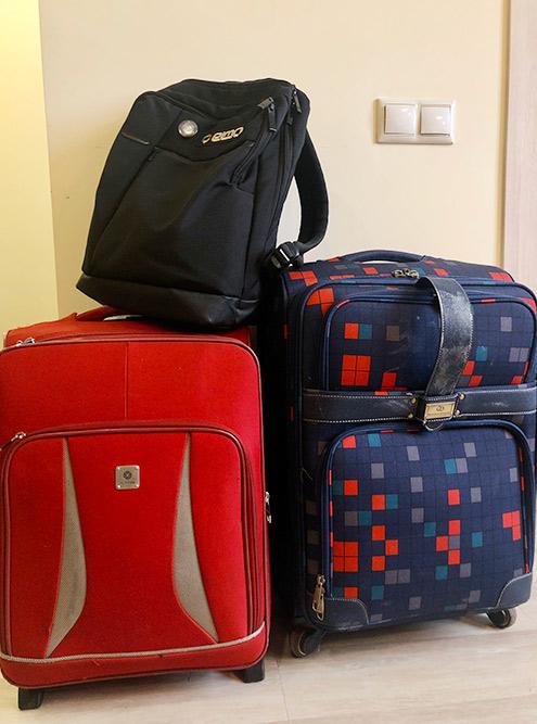 Чемоданы и рюкзак, с которыми мы переезжали летом