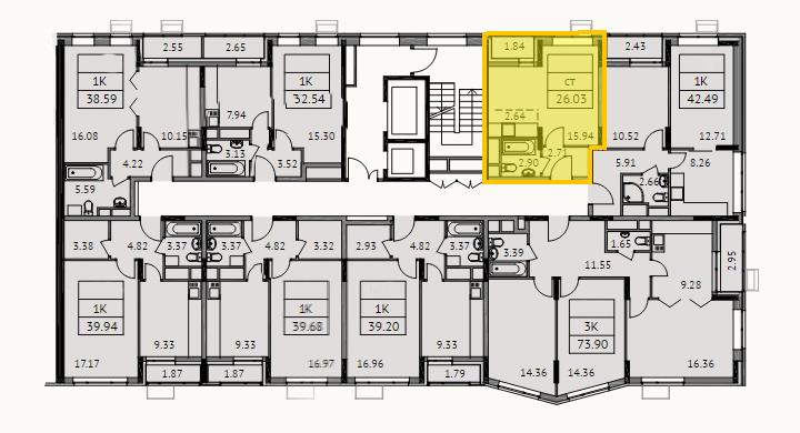 Поэтажный план студии, который я размещала в объявлении. Видно, что моя квартира ближайшая к лестнице и не угловая