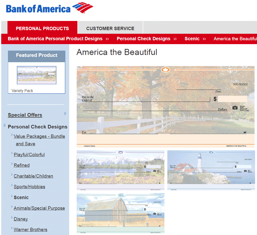 Индивидуальный дизайн чеков на сайте Банка Америки