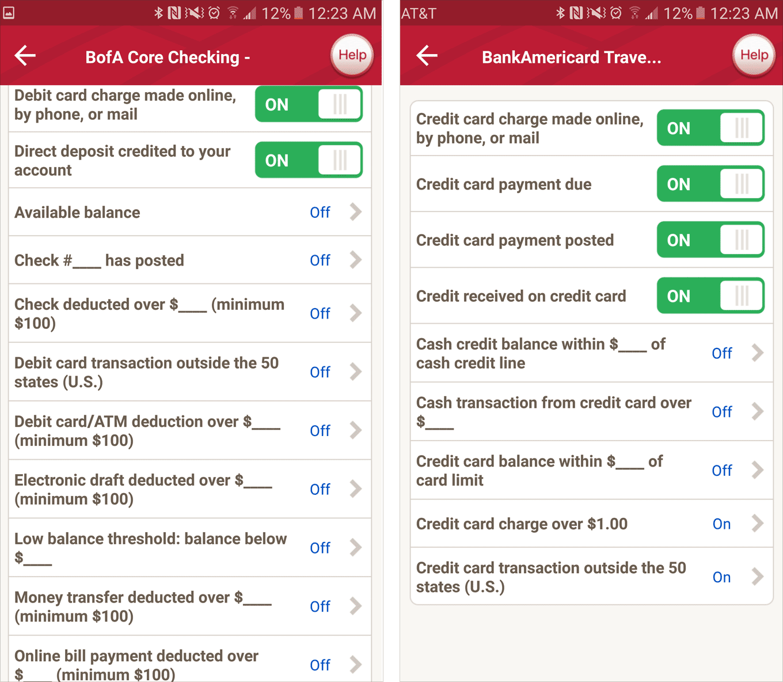 Скриншоты из мобильного приложения Банка Америки. Настройка смс и уведомлений о списании средств с дебетовой и кредитной карт