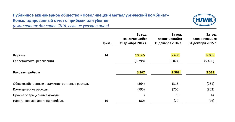 Страница 14 финансового отчета НЛМК за 2017 год