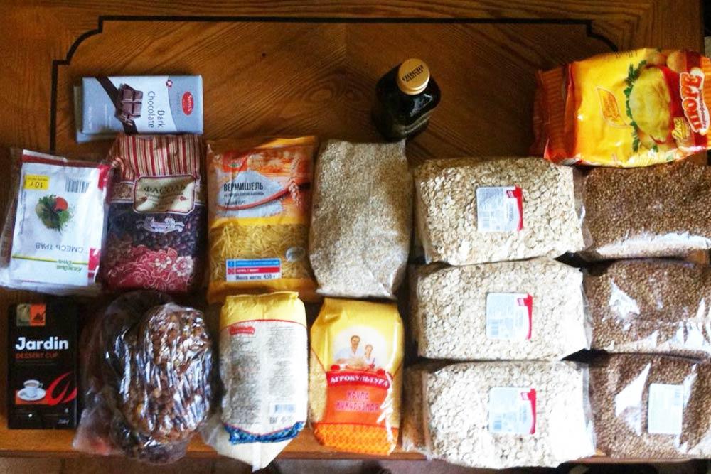 Еда, которую мы купили на весь поход