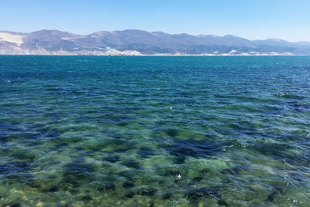 Море уСуджукской косы прозрачное, дно немного каменистое