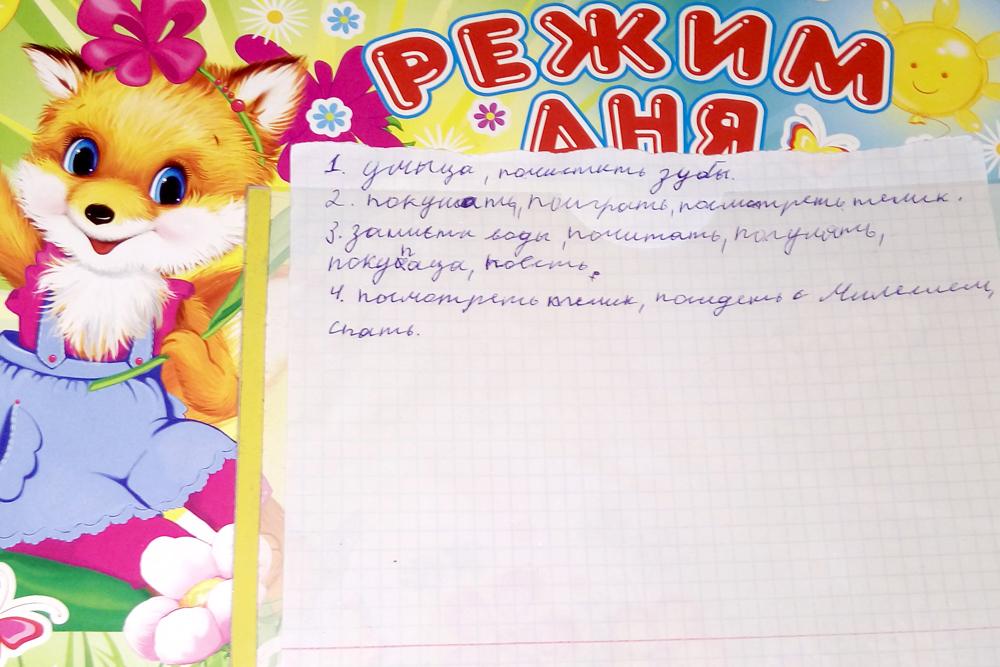 На стене в доме Светланы висит режим дня ее сына