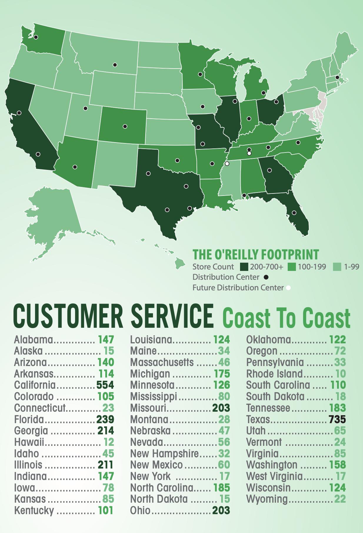 Разные штаты США и количество магазинов компании в них. Черные точки — центры распространения, белые — запланированные центры. Источник: годовой отчет компании, стр. 4 (6)