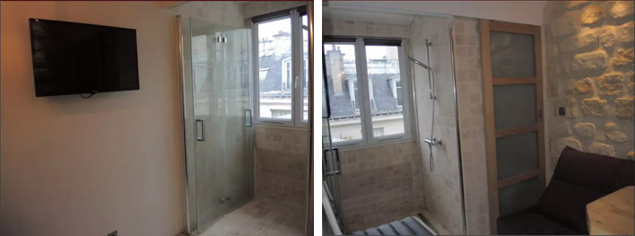 Справа от телевизора — стеклянная дверь в душ. Квартира стоит 600€ в месяц
