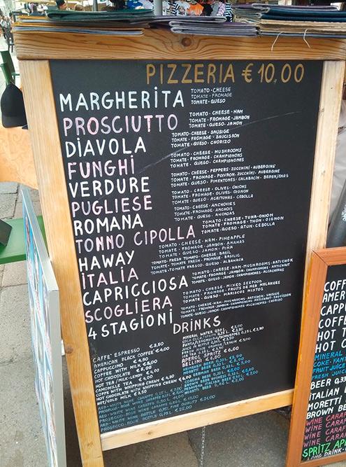 Примерные цены в районе Сан-Марко безучета обслуживания: пицца — 10—15€, коктейль — 5—6€