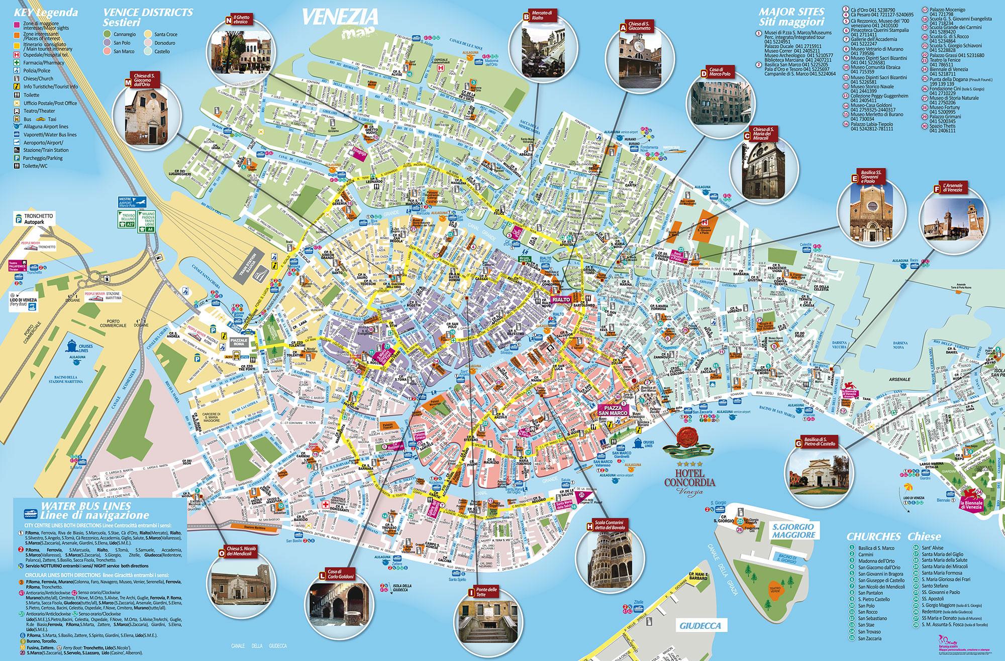 Желтым отмечены самые популярные маршруты туристов — в заведениях на этих улицах всегда людно и дорого. Карта с сайта mappebrusy.com