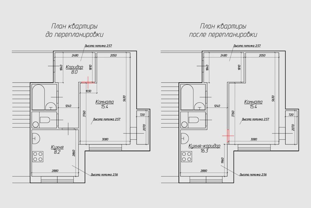 План квартиры до и после перепланировки: убрали перегородку с дверным проемом между кухней и коридором, зашили существующий вход в комнату и устроили новый дверной проем между кухней и комнатой