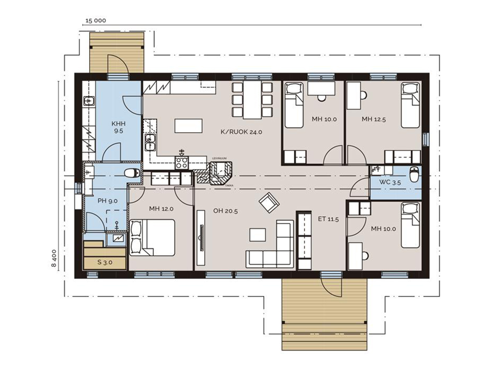 Это план дома, на который я ориентировалась. Мне понравилось, что спальни сосредоточены в одном месте и находятся немного в отдалении от общественной зоны