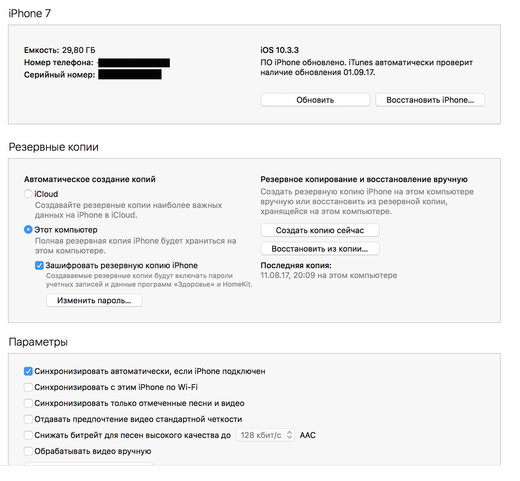 Айтюнс автоматически определит модель вашего телефона и предложит варианты действий
