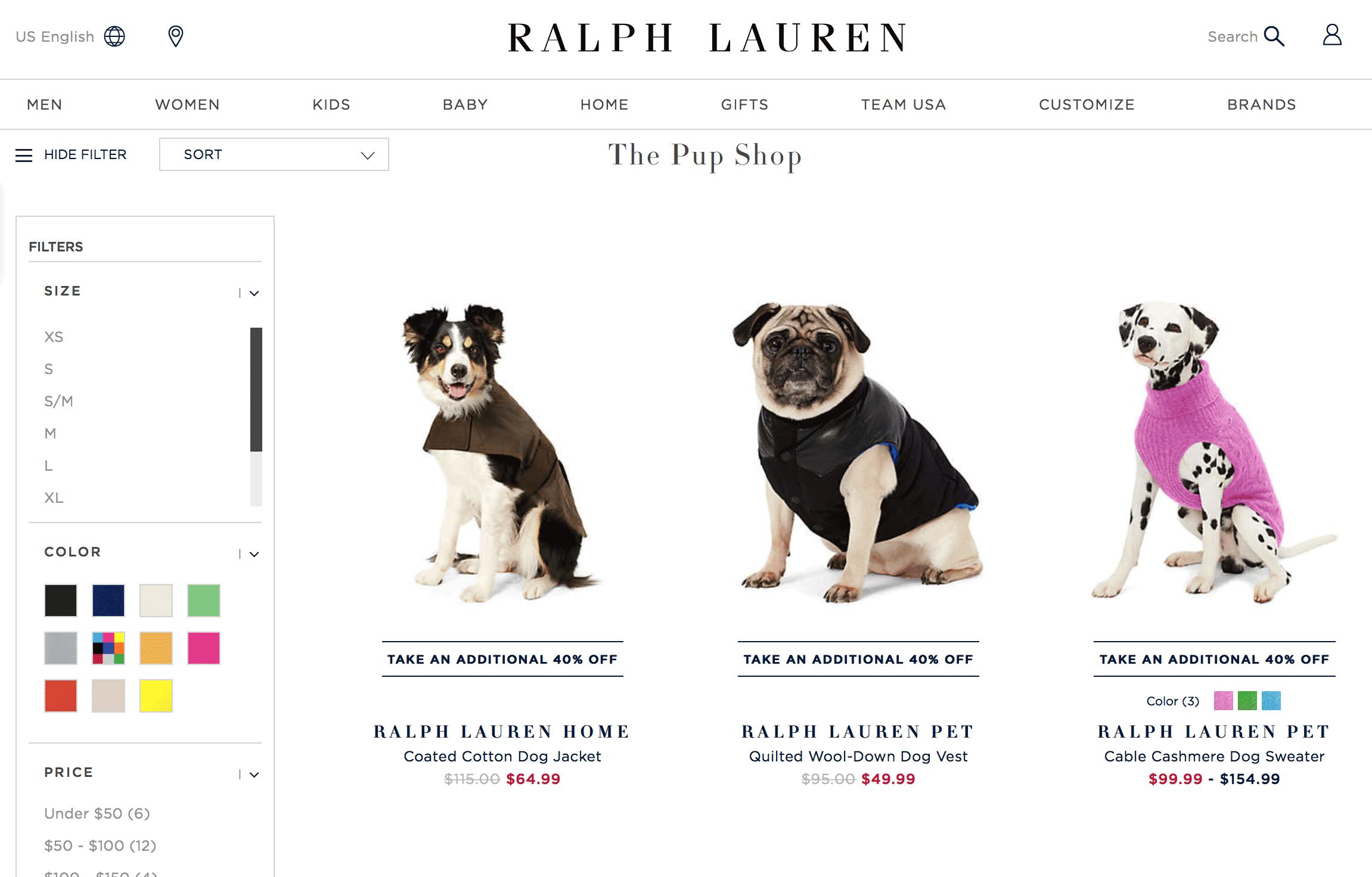 В «Ральф Лорен» есть кашемировые свитеры для собак