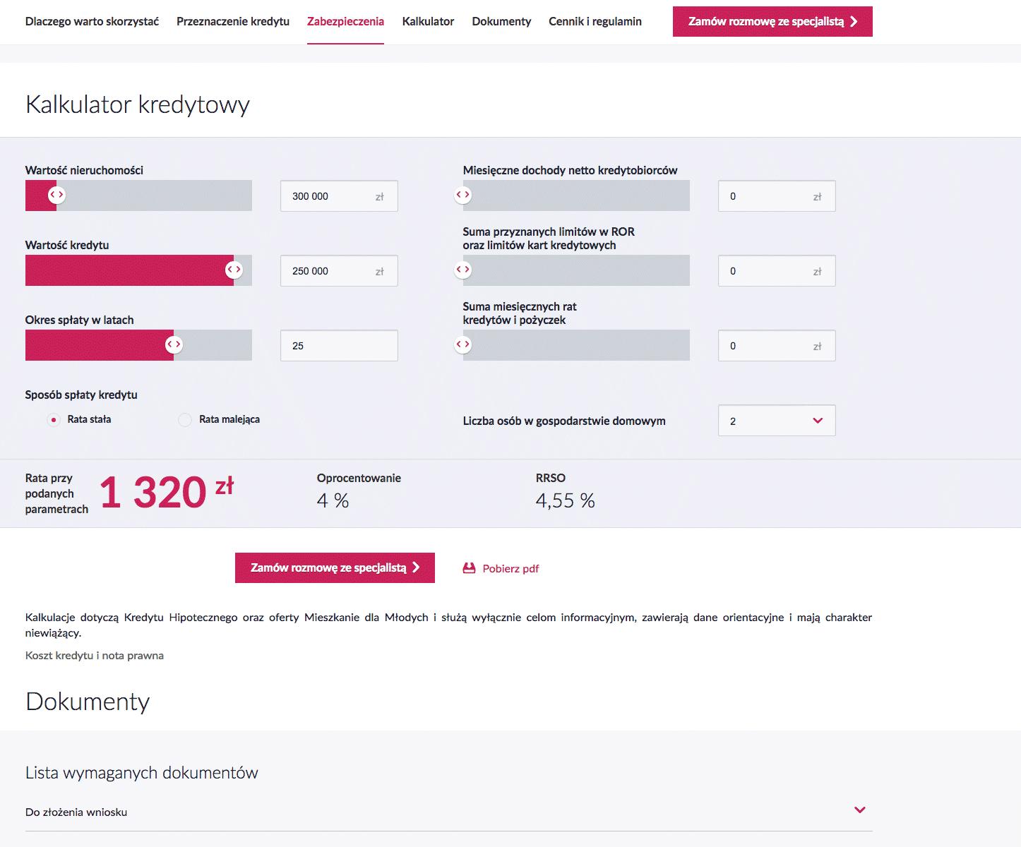 Примерный расчет ипотечного кредита на странице банка «Миллениум». Ставка — 4%