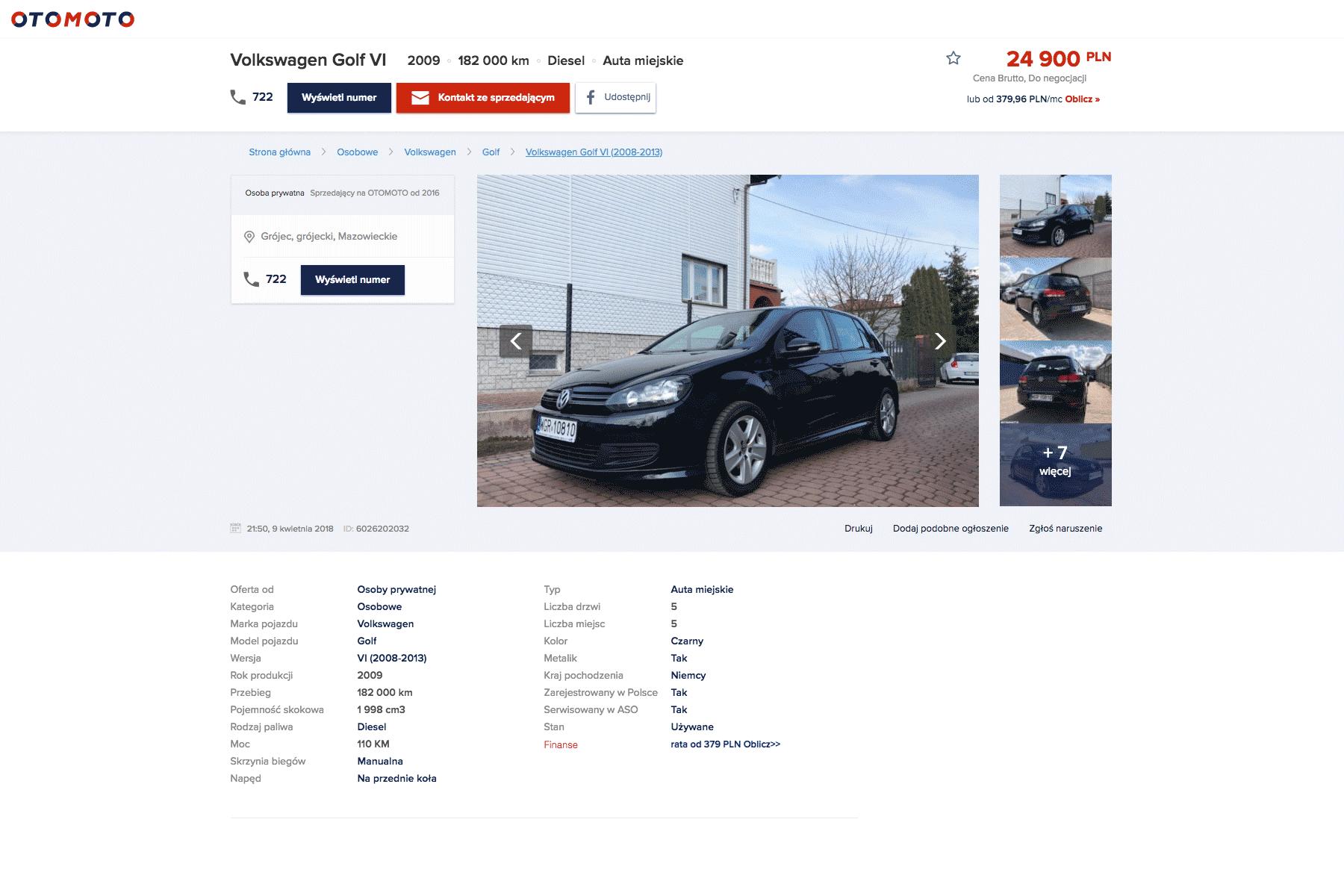 Подержанный Фольксваген Гольф 6 можно купить за 24 900 злотых (416 000 р.) на сайте Otomoto.pl