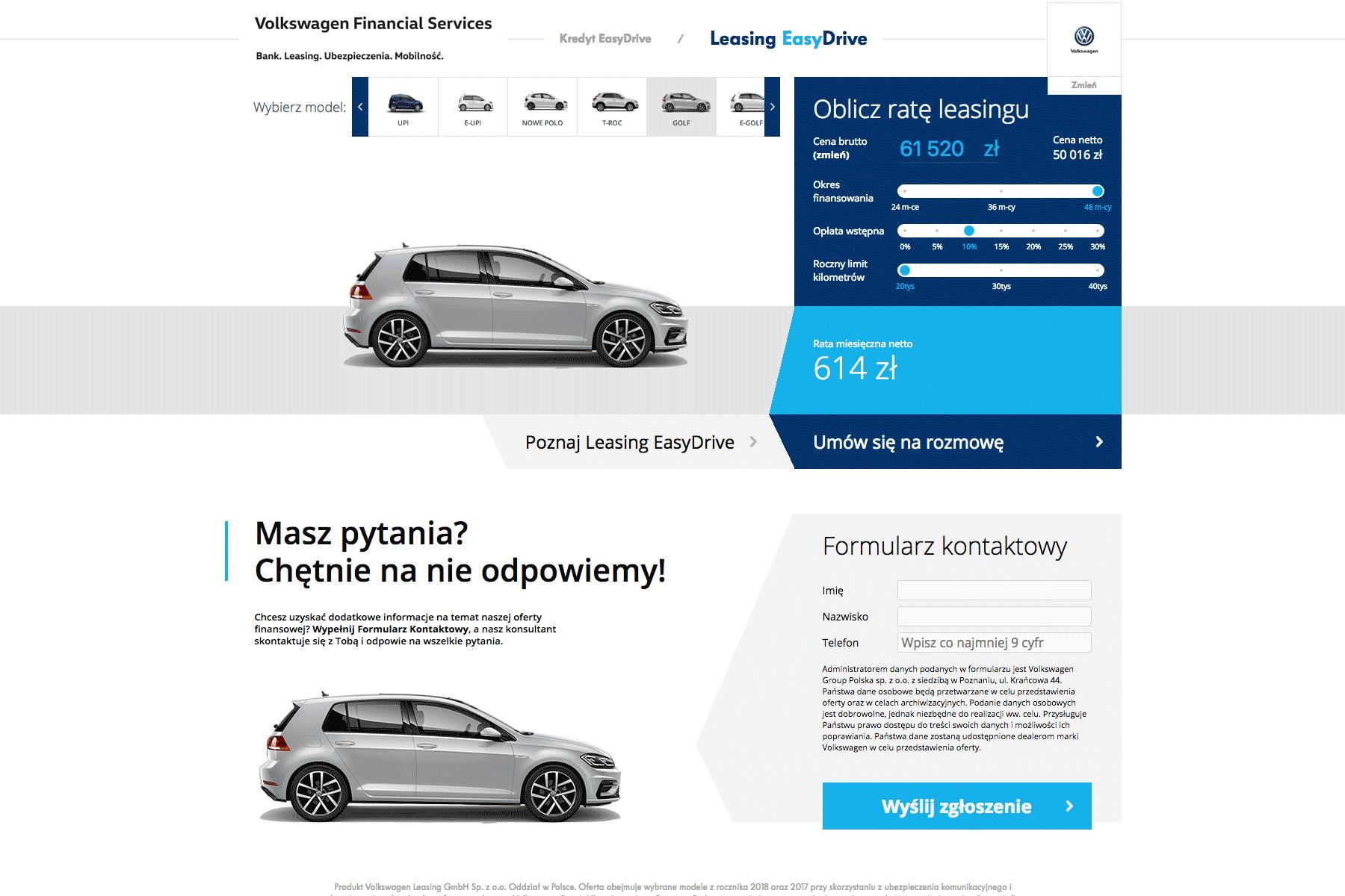 Примерный расчет стоимости нового Гольфа можно сделать в лизинговом калькуляторе Kalkulator.vwbank.pl