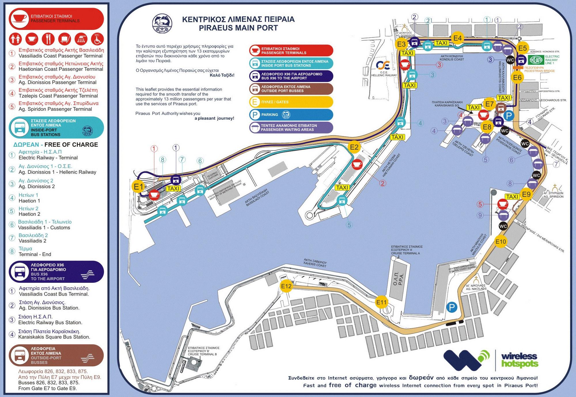Карта порта Пирея. Источник: Arencejean.com