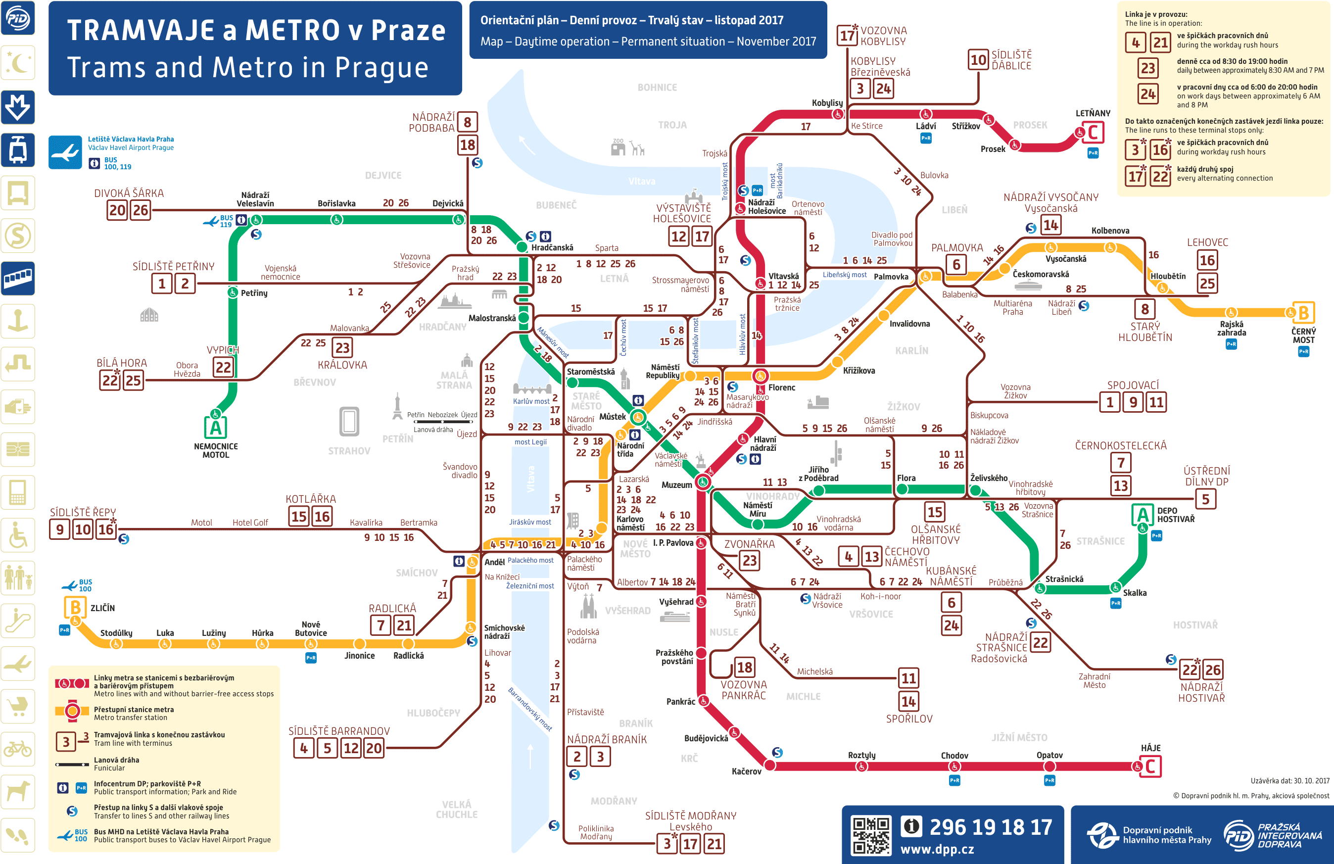 Схема трамваев и подземки в Праге