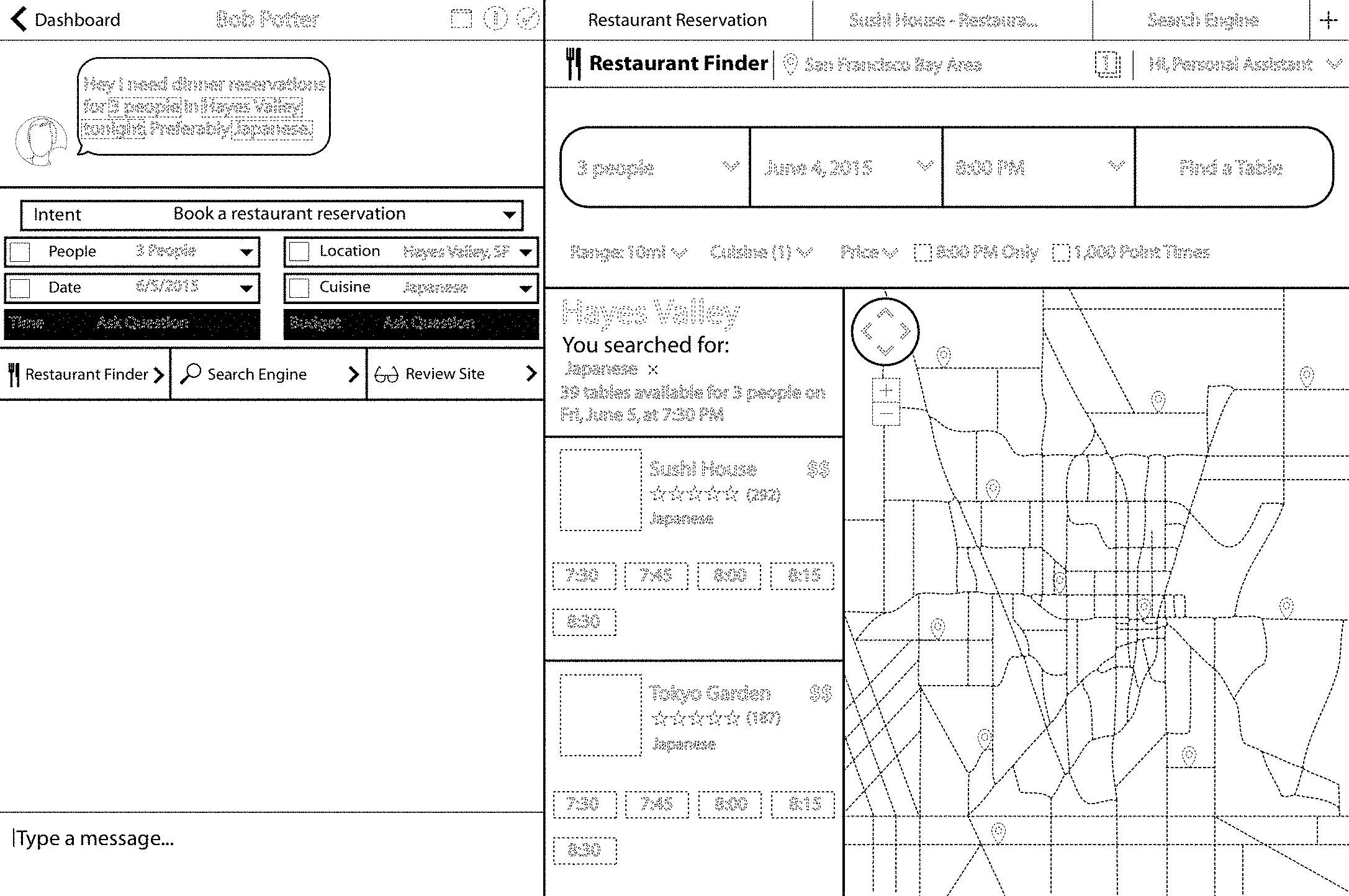 У Фейсбука есть патент на интерфейс окна переписки пользователя с рестораном. Неизвестно, появится такая функция или нет, но дизайн уже запатентовали