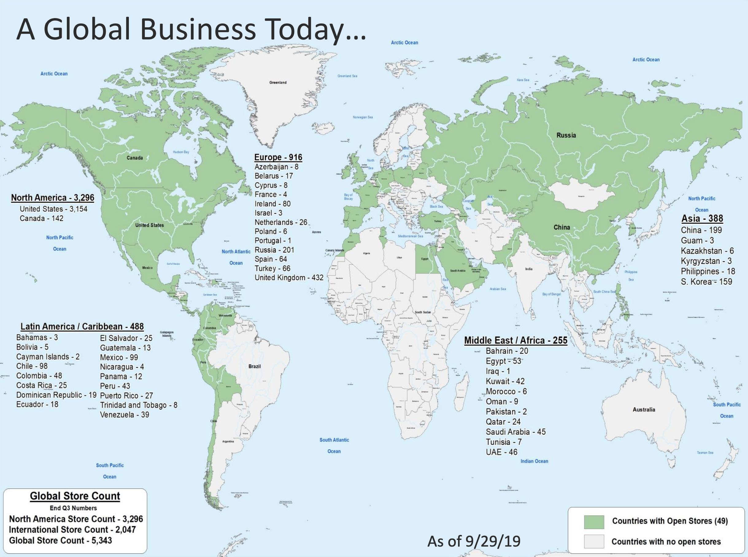 Все отделения компании в разных странах мира по состоянию на 29 сентября 2019года. Источник:презентация компании, стр.11