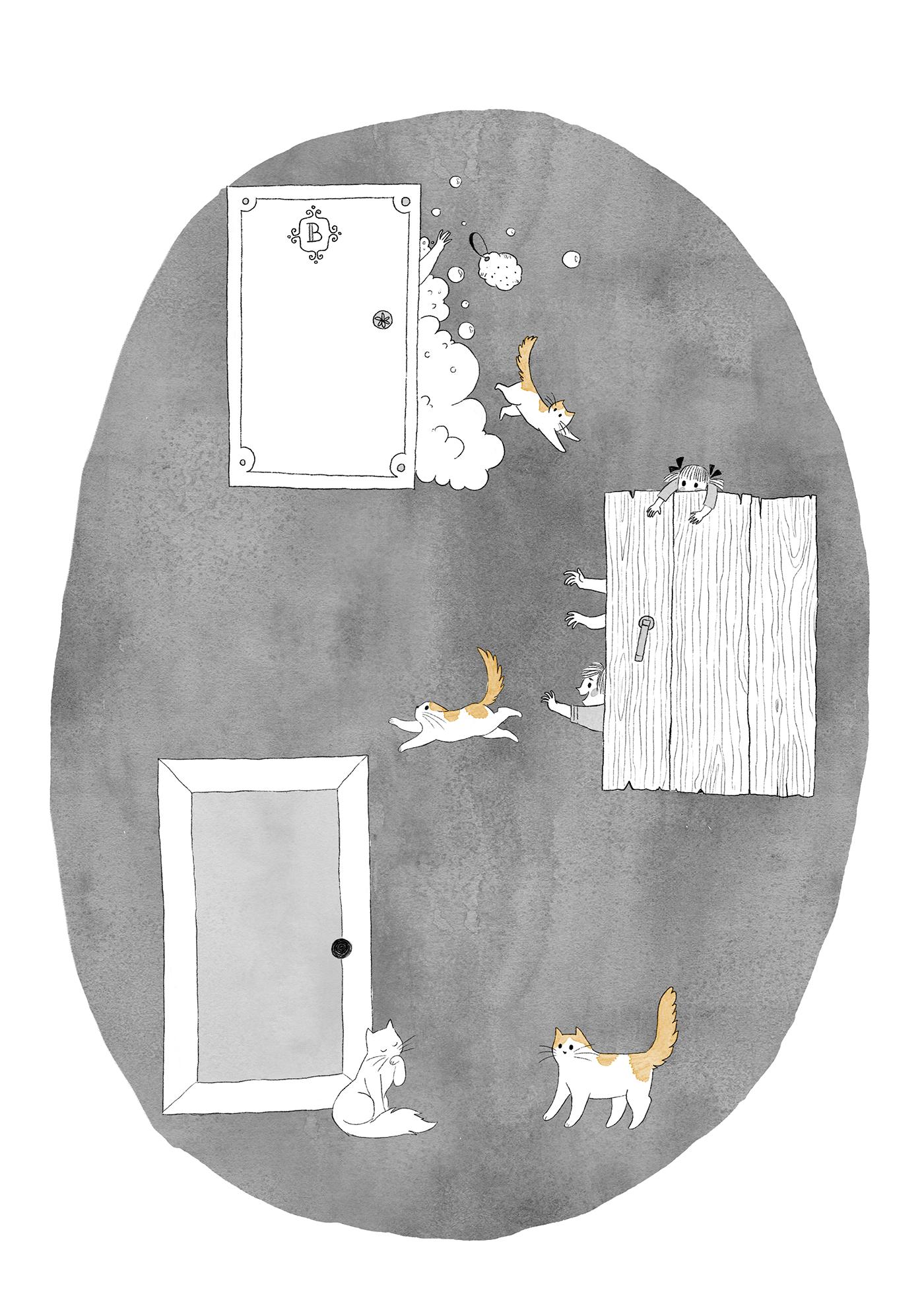 Одна из иллюстраций к книге. Это к вопросу о перипетиях: предпочитаю не попадать в них в одиночестве, а тащить кого-то за собой — так коту пришлось помучиться в ужасно мокрой ванной комнате