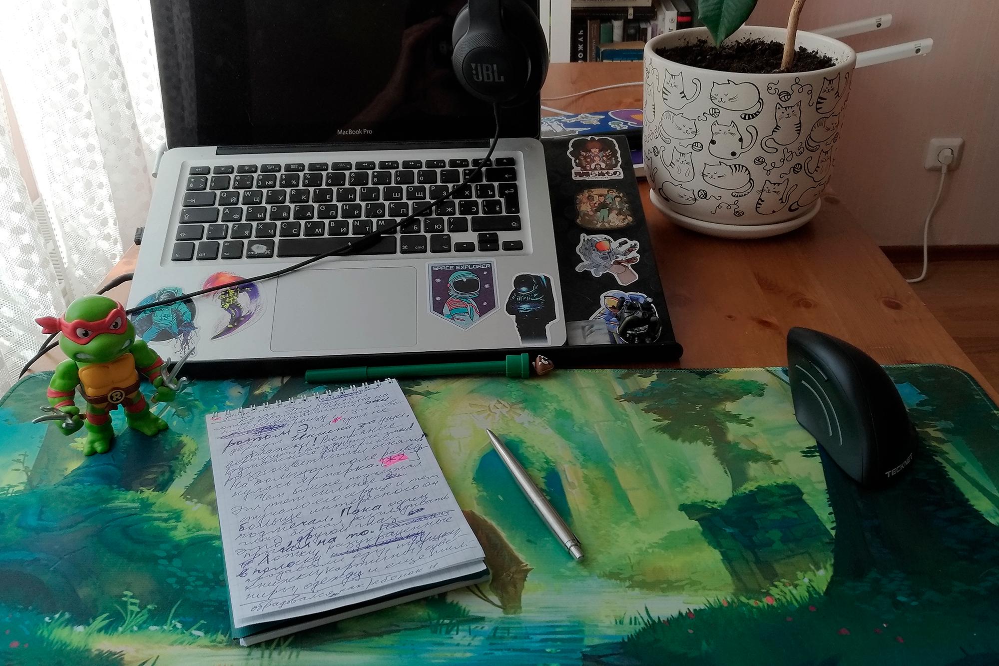 Иногда я пишу, как Пушкин завещал, от руки в блокноте. Это Рафаэль. Он помогает мне оставаться в режиме писателя, а не редактора, и выдавать больше слов за сессию. Если я скатываюсь в редактуру, он колет меня в палец своими саями