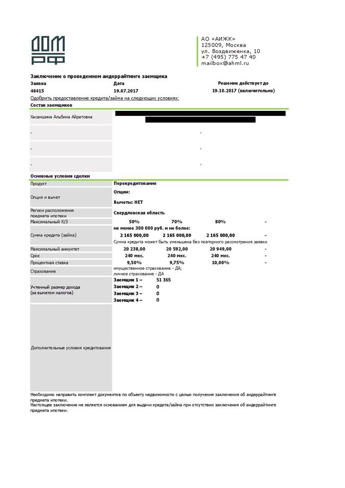Заключение об одобрении кредита. У банка я попросила 65% стоимости квартиры под 9,75% годовых