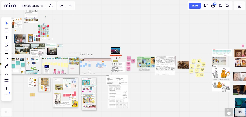 Это моя интерактивная доска. Каждый прямоугольник — кусочек занятия. Впрограмме Lightshot ябыстро делаю скрины кусков экрана ивставляю картинки. Сюдаже загружаю видео истраницы учебников