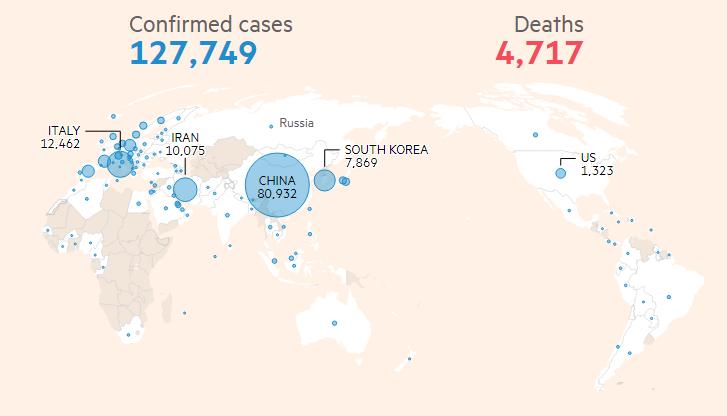 Пандемия коронавируса: состояние дел на 12 марта. Синий — число зараженных, красный — число смертей. Источник: Financial Times