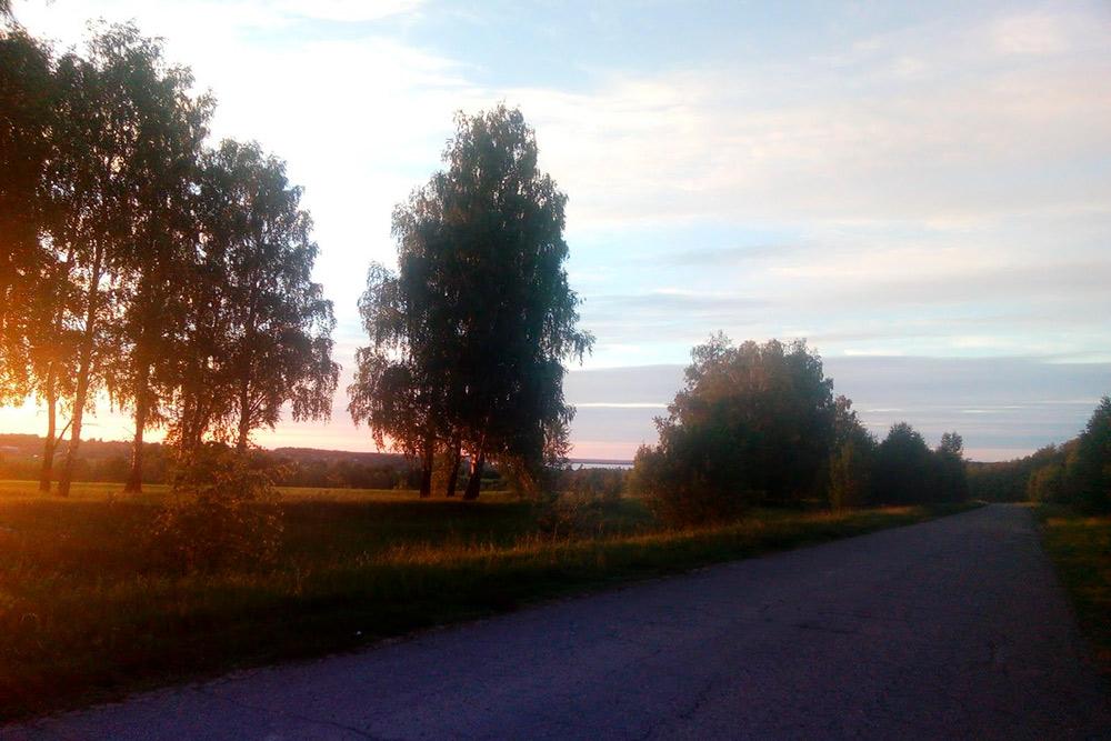 Между Васильсурском и Козьмодемьянском. Пытаюсь проехать как можно больше, пока совсем нестемнело. Светлая полоса между деревьями вцентре кадра — Волга