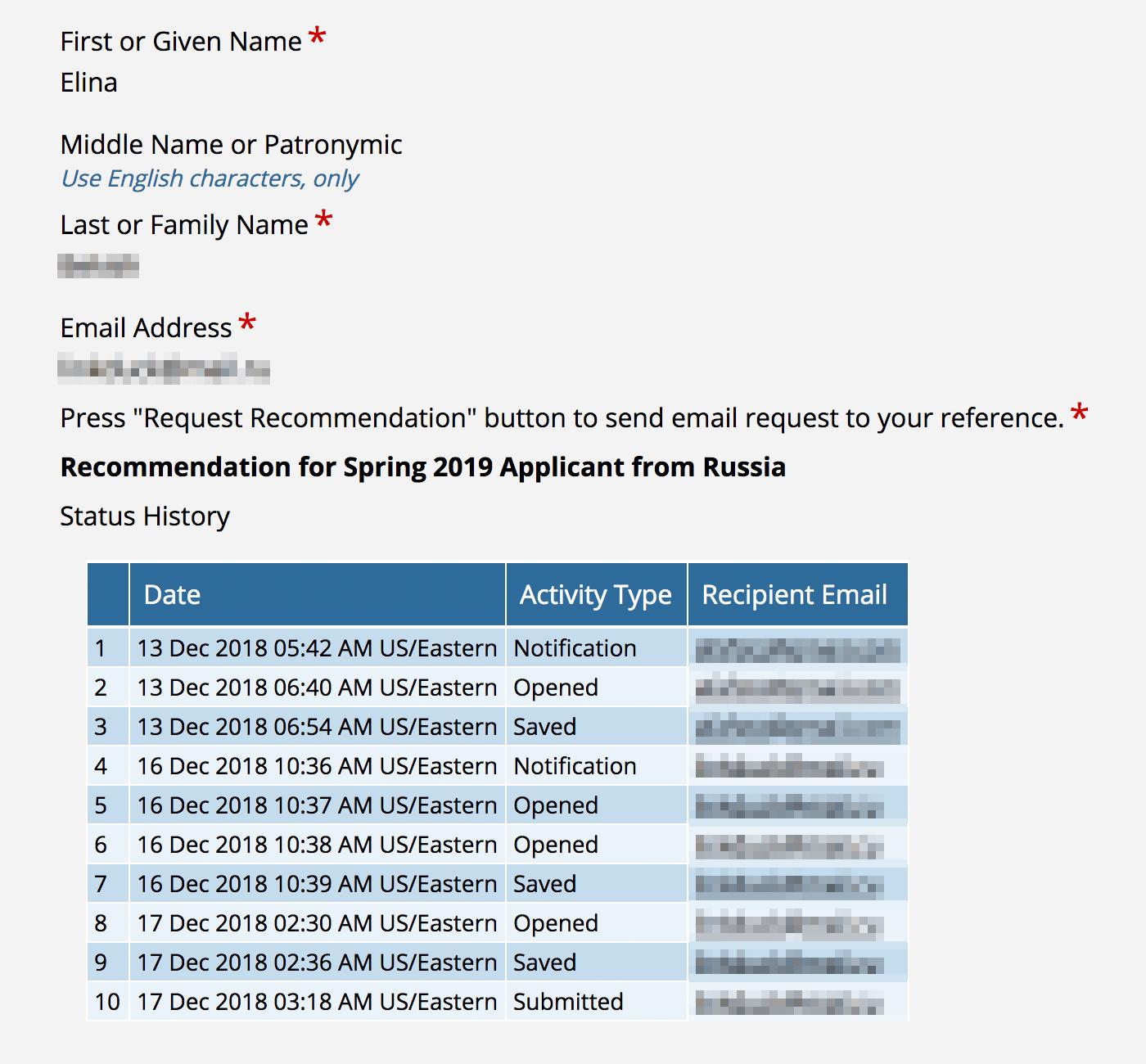 Организаторы просят участников предоставить два рекомендательных письма. В анкете можно отслеживать, заполнил рецензент форму или нет. Это поможет не пропустить дедлайн. Советую за этим следить: мой рецензент забыл о моей просьбе. Мне пришлось срочно просить о помощи другого клиента