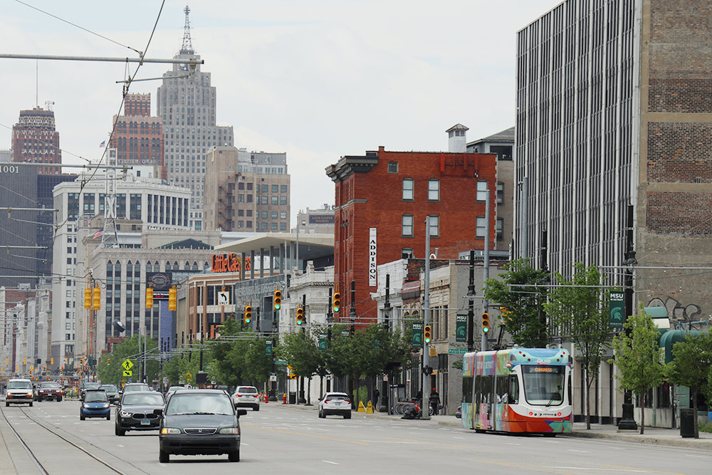 Одна изцентральных улиц Детройта