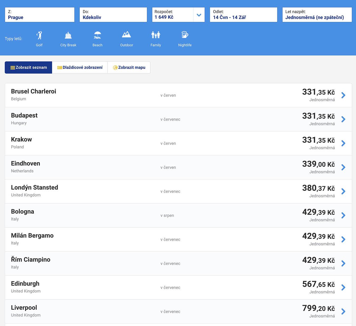 Цены на билеты лоукостера «Райнэйр» из Праги